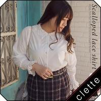 大きいサイズ レディース スカラップレースシャツ|clette-online