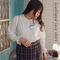 大きいサイズ レディース スカラップレースシャツ|clette-online|02
