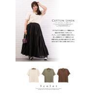 大きいサイズ レディース コットンリネンVネックTシャツ|clette-online|03