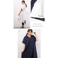 大きいサイズ レディース 半袖ロングシャツワンピース|clette-online|05