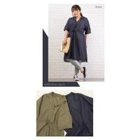 大きいサイズ レディース 開襟デザイン綿麻シャツワンピース|clette-online|04