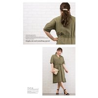 大きいサイズ レディース 開襟デザイン綿麻シャツワンピース|clette-online|05