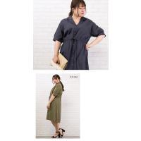 大きいサイズ レディース 開襟デザイン綿麻シャツワンピース|clette-online|06