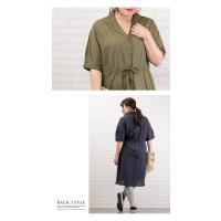 大きいサイズ レディース 開襟デザイン綿麻シャツワンピース|clette-online|07