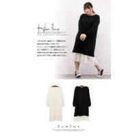 大きいサイズ レディース 裾レースカットソーワンピース|clette-online|03