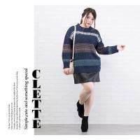 大きいサイズ レディース ノルディック柄ジャガードニット|clette-online|07