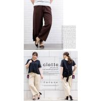 大きいサイズ レディース 裾フリンジリネンワイドパンツ clette-online 06