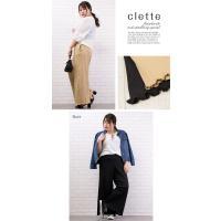 大きいサイズ レディース 裾メロウリブワイドパンツ|clette-online|04