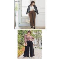 大きいサイズ レディース 裾スカラップケーブルニットワイドパンツ|clette-online|05