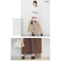 大きいサイズ レディース 裾スカラップケーブルニットワイドパンツ|clette-online|06