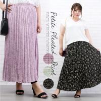大きいサイズ レディース 小花柄プリーツスカート|clette-online|02