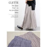 大きいサイズ レディース ウエストゴム消しプリーツロングスカート clette-online 06