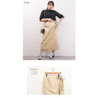 大きいサイズ レディース ラップ風ツイルロングスカート|clette-online|05