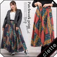 大きいサイズ レディース パッチワーク風プリントロングスカート clette-online