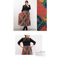 大きいサイズ レディース パッチワーク風プリントロングスカート clette-online 04