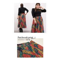 大きいサイズ レディース パッチワーク風プリントロングスカート clette-online 06
