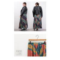 大きいサイズ レディース パッチワーク風プリントロングスカート clette-online 07