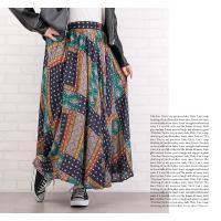 大きいサイズ レディース パッチワーク風プリントロングスカート clette-online 08