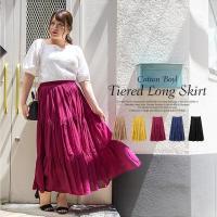 大きいサイズ レディース コットンボイルティアードロングスカート clette-online 02