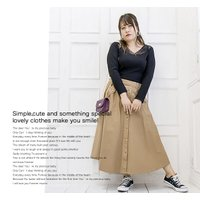 大きいサイズ レディース フロントボタンフレアスカート|clette-online|08