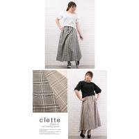 大きいサイズ レディース チェック柄タック入フレアスカート|clette-online|05