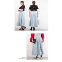 大きいサイズ レディース サイドボタンデニムスカート clette-online 07