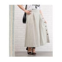 大きいサイズ レディース サイドボタンストライプスカート|clette-online|07