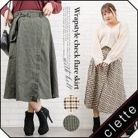 大きいサイズ レディース ベルト付ラップ風チェックフレアスカート clette-online
