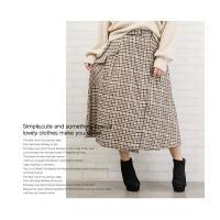 大きいサイズ レディース ベルト付ラップ風チェックフレアスカート clette-online 08