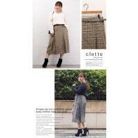 大きいサイズ レディース ベルト付タック使いチェック柄スカート|clette-online|05