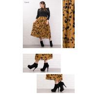 大きいサイズ レディース フロッキー花柄フレアロングスカート|clette-online|04
