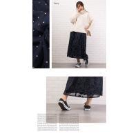 大きいサイズ レディース フロッキー花柄フレアロングスカート|clette-online|05
