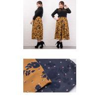 大きいサイズ レディース フロッキー花柄フレアロングスカート|clette-online|06