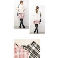 大きいサイズ レディース ベルト付シャギーチェックフレアスカート|clette-online|06