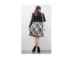 大きいサイズ レディース ベルト付シャギーチェックフレアスカート|clette-online|07