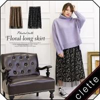 大きいサイズ レディース プリーツチュール重ね花柄ロングスカート|clette-online