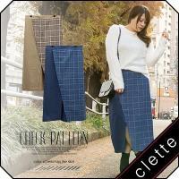 大きいサイズ レディース チェック柄配色ラップ風スカート|clette-online