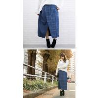 大きいサイズ レディース チェック柄配色ラップ風スカート|clette-online|07