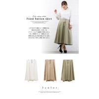 大きいサイズ レディース 配色ステッチフロント釦スカート clette-online 03