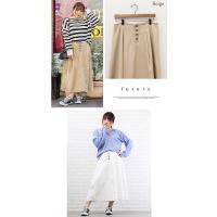 大きいサイズ レディース 配色ステッチフロント釦スカート clette-online 07