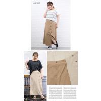 大きいサイズ レディース サイドボタンデザインフレアスカート|clette-online|04