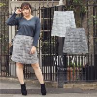 大きいサイズ レディース MIXツイード台形スカート|clette-online|02