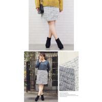 大きいサイズ レディース MIXツイード台形スカート|clette-online|04