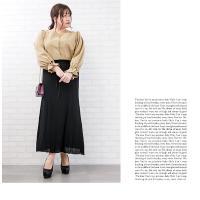 大きいサイズ レディース リブ編みニットフレアスカート|clette-online|08