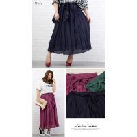 大きいサイズ レディース ウエストリボン付ロングスカート|clette-online|04