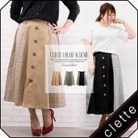 大きいサイズ レディース チェック配色トレンチスカート|clette-online