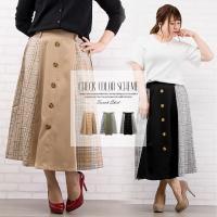 大きいサイズ レディース チェック配色トレンチスカート|clette-online|02