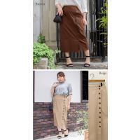 大きいサイズ レディース cletteオリジナル★サイドボタンナロースカート|clette-online|04