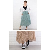 大きいサイズ レディース ウエストゴム花柄スカート|clette-online|07