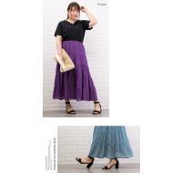 大きいサイズ レディース ティアードロングスカート|clette-online|04